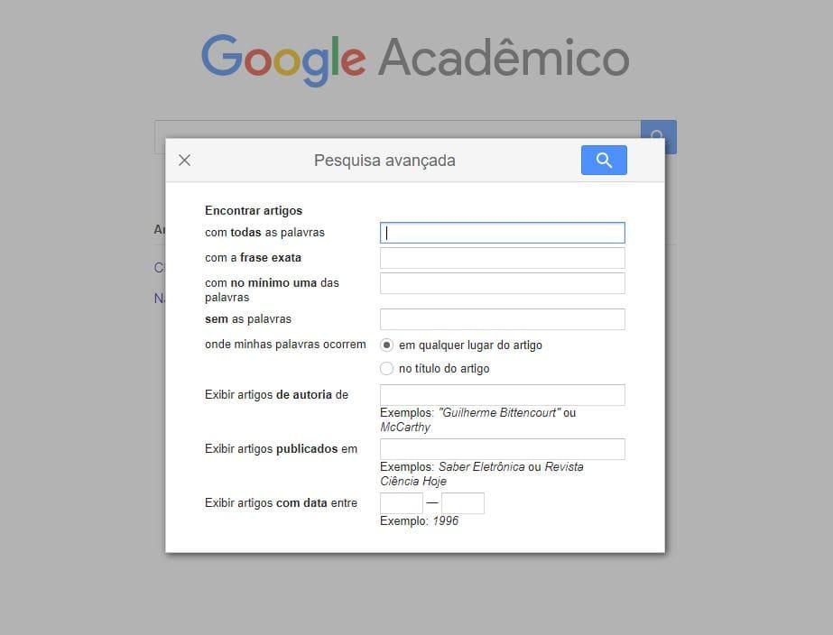 Pesquisa avançada no Google Acadêmico